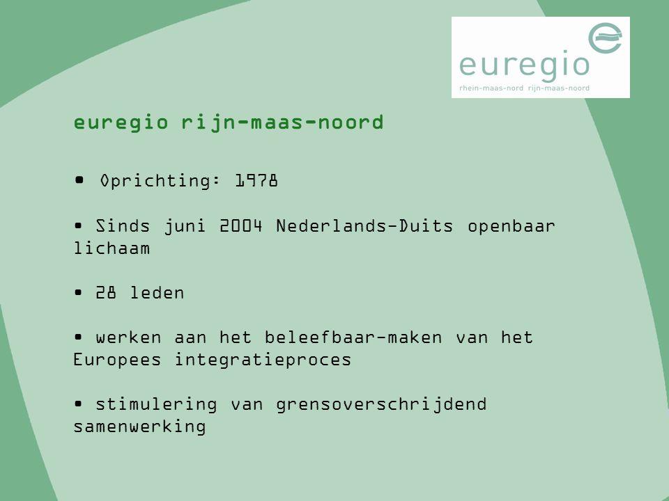 Oprichting: 1978 Sinds juni 2004 Nederlands-Duits openbaar lichaam 28 leden werken aan het beleefbaar-maken van het Europees integratieproces stimuler