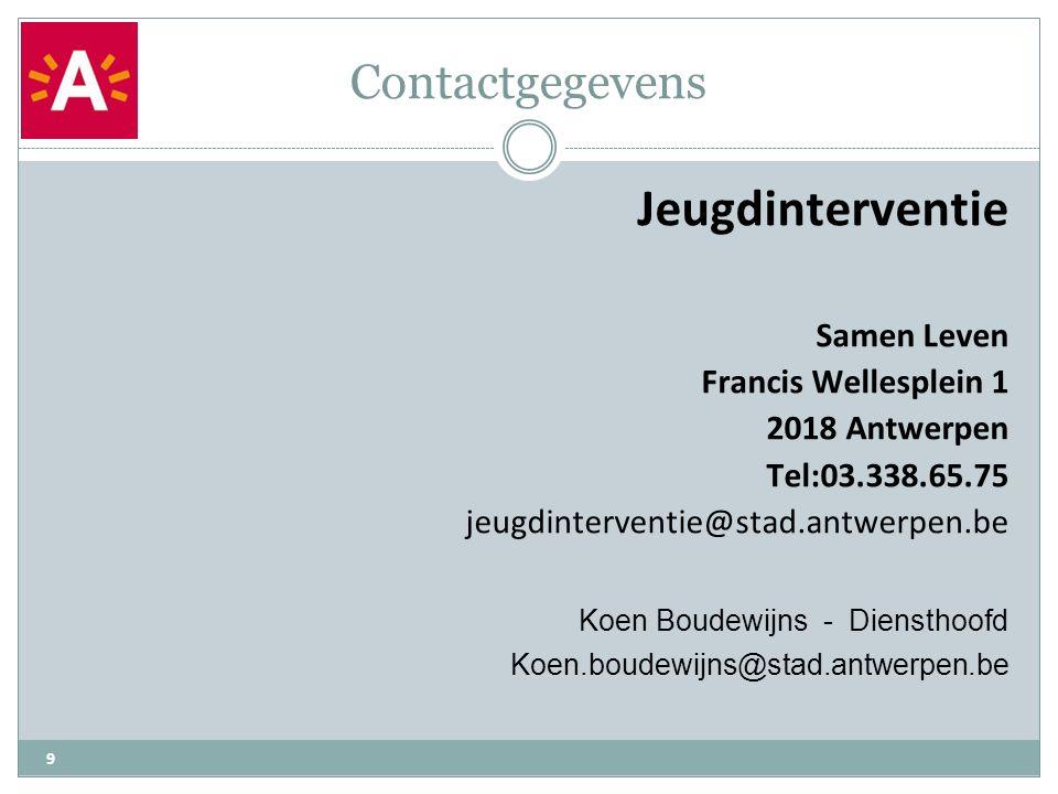 Contactgegevens 9 Jeugdinterventie Samen Leven Francis Wellesplein 1 2018 Antwerpen Tel:03.338.65.75 jeugdinterventie@stad.antwerpen.be Koen Boudewijn