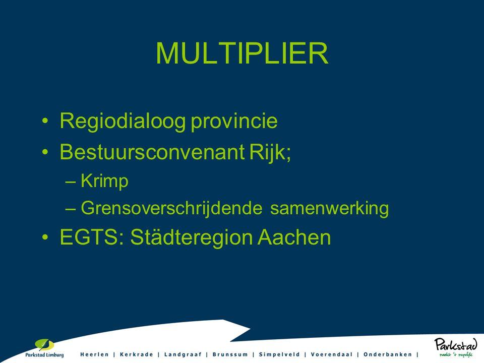 MULTIPLIER Regiodialoog provincie Bestuursconvenant Rijk; –Krimp –Grensoverschrijdende samenwerking EGTS: Städteregion Aachen