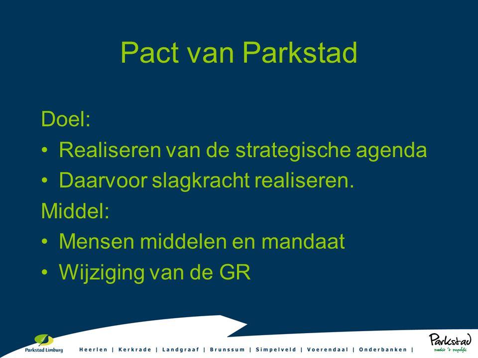 Pact van Parkstad Doel: Realiseren van de strategische agenda Daarvoor slagkracht realiseren. Middel: Mensen middelen en mandaat Wijziging van de GR