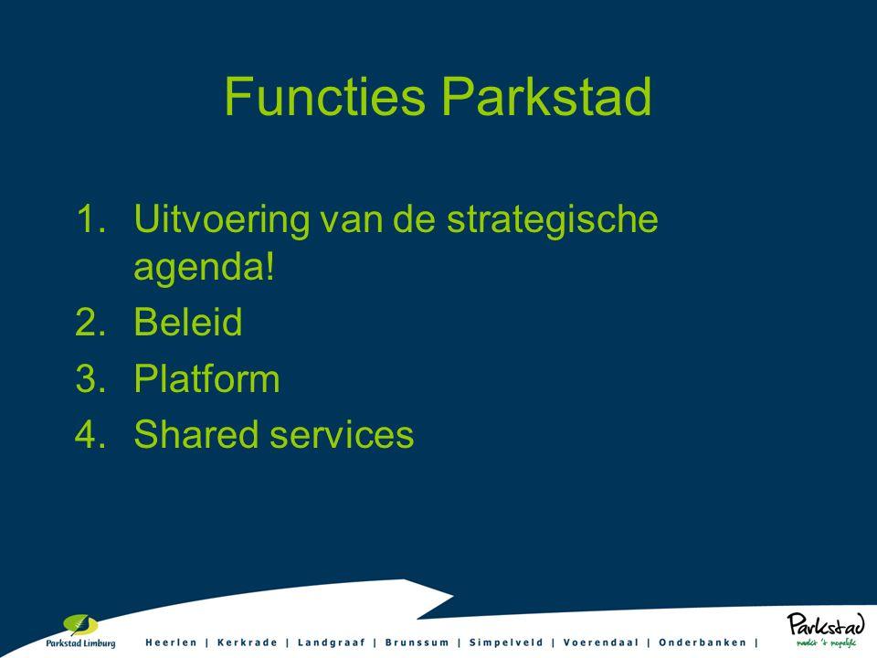 Functies Parkstad 1.Uitvoering van de strategische agenda! 2.Beleid 3.Platform 4.Shared services