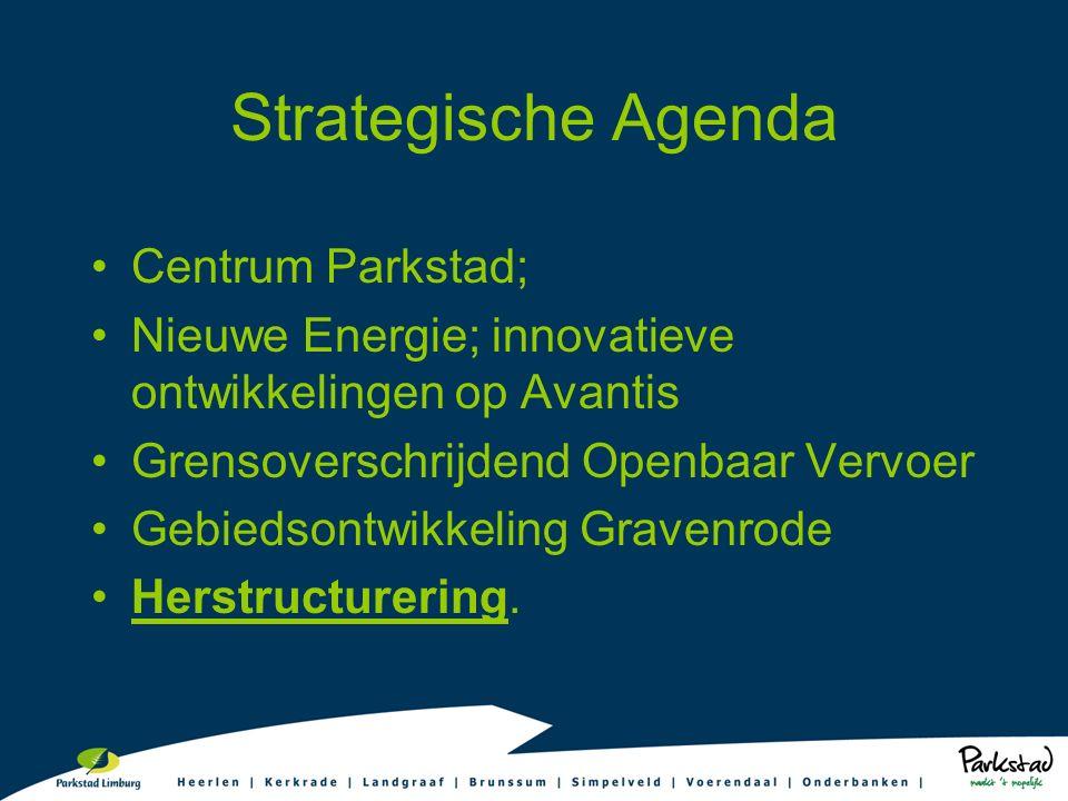 Strategische Agenda Centrum Parkstad; Nieuwe Energie; innovatieve ontwikkelingen op Avantis Grensoverschrijdend Openbaar Vervoer Gebiedsontwikkeling Gravenrode Herstructurering.