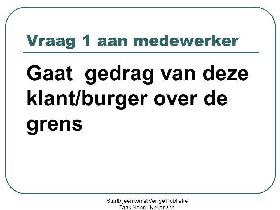 Vraag 2 aan medewerker Gaat medewerker dit incident melden ( en bij wie op welke wijze) Startbijeenkomst Veilige Publieke Taak Noord-Nederland