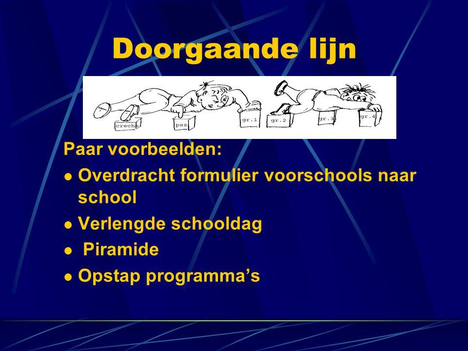 Doorgaande lijn Paar voorbeelden: Overdracht formulier voorschools naar school Verlengde schooldag Piramide Opstap programma's