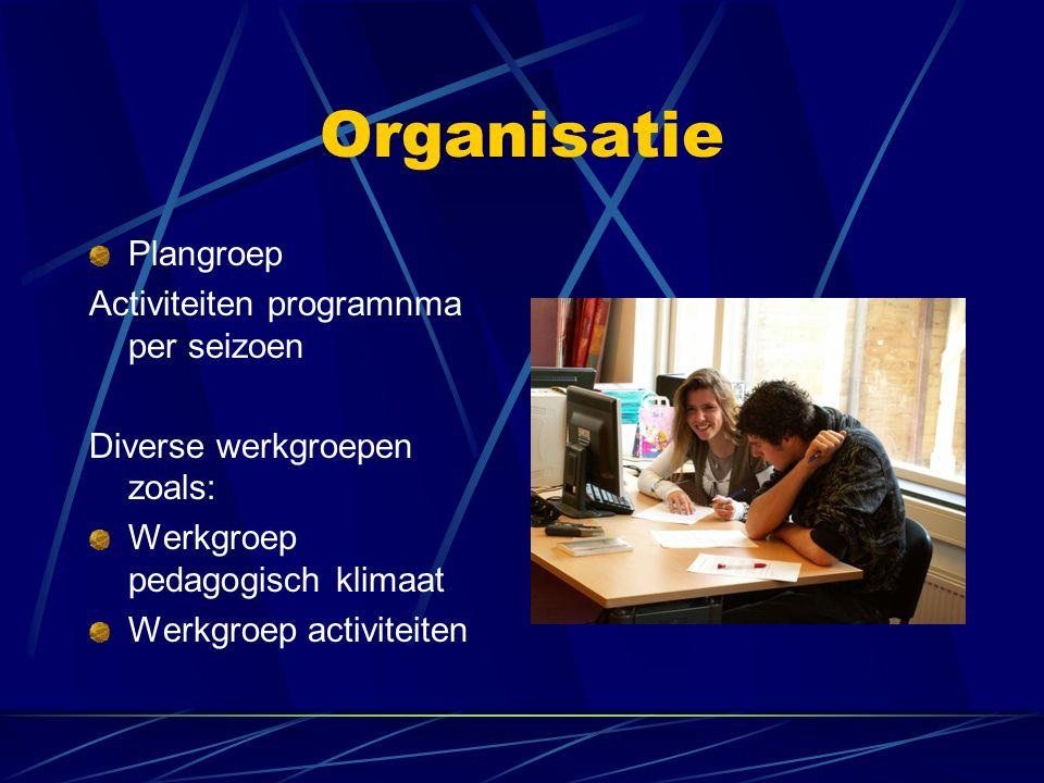 Organisatie Plangroep Activiteiten programnma per seizoen Diverse werkgroepen zoals: Werkgroep pedagogisch klimaat Werkgroep activiteiten