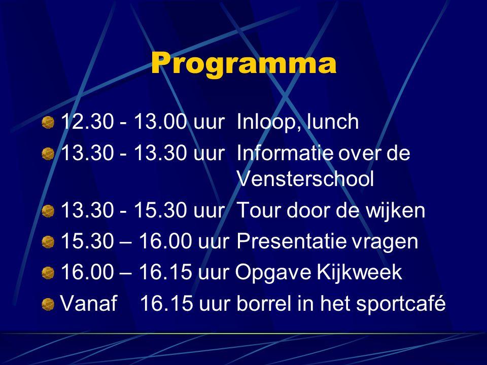 Programma 12.30 - 13.00 uur Inloop, lunch 13.30 - 13.30 uurInformatie over de Vensterschool 13.30 - 15.30 uurTour door de wijken 15.30 – 16.00 uurPresentatie vragen 16.00 – 16.15 uur Opgave Kijkweek Vanaf 16.15 uur borrel in het sportcafé