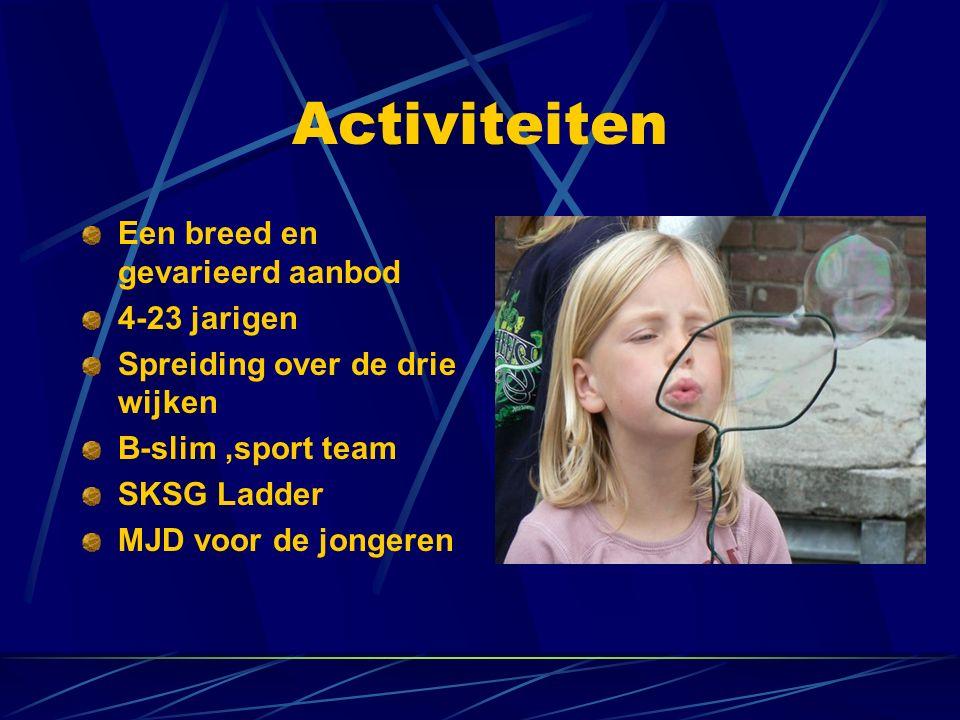 Activiteiten Foto poolster Een breed en gevarieerd aanbod 4-23 jarigen Spreiding over de drie wijken B-slim,sport team SKSG Ladder MJD voor de jongeren