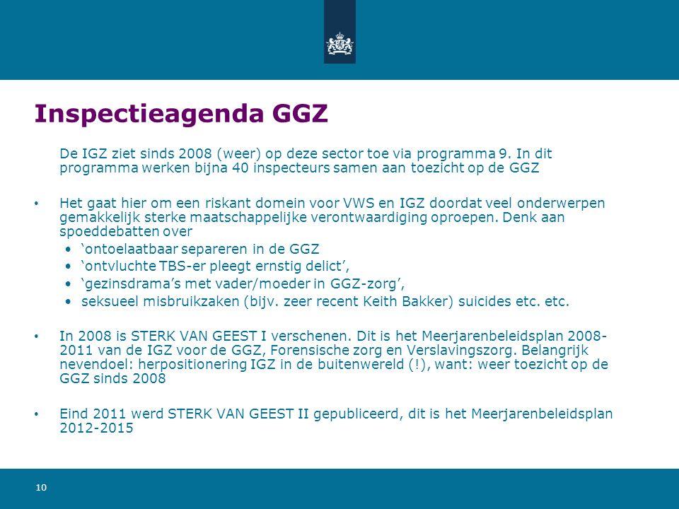 10 Inspectieagenda GGZ De IGZ ziet sinds 2008 (weer) op deze sector toe via programma 9. In dit programma werken bijna 40 inspecteurs samen aan toezic