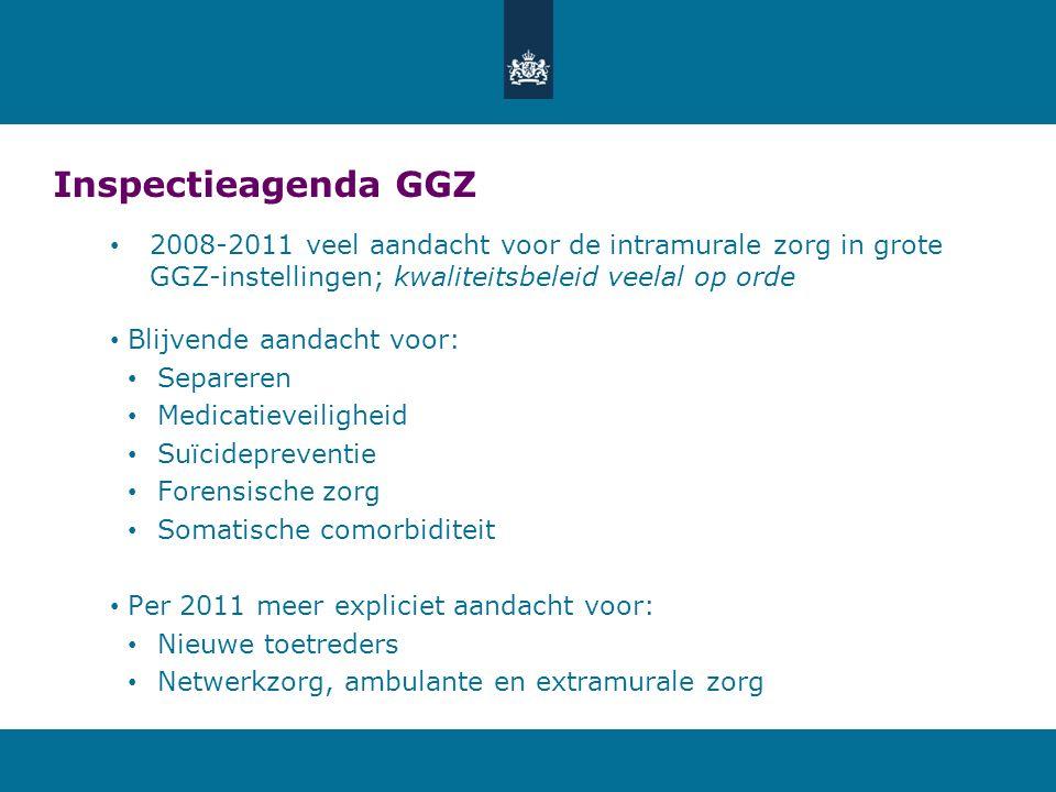Inspectieagenda GGZ 2008-2011 veel aandacht voor de intramurale zorg in grote GGZ-instellingen; kwaliteitsbeleid veelal op orde Blijvende aandacht voo