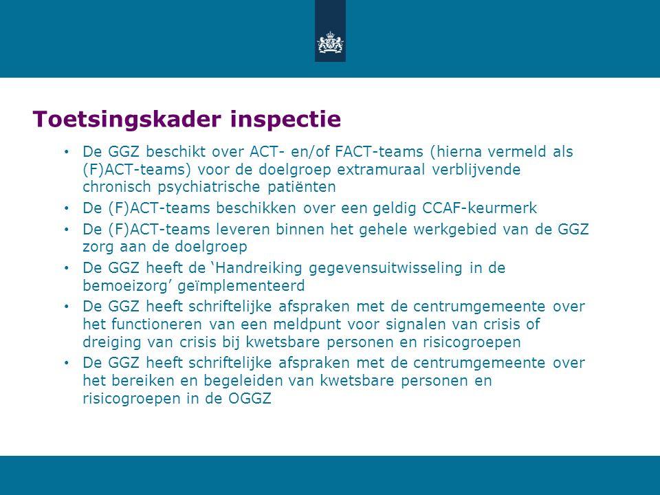 Toetsingskader inspectie De GGZ beschikt over ACT- en/of FACT-teams (hierna vermeld als (F)ACT-teams) voor de doelgroep extramuraal verblijvende chronisch psychiatrische patiënten De (F)ACT-teams beschikken over een geldig CCAF-keurmerk De (F)ACT-teams leveren binnen het gehele werkgebied van de GGZ zorg aan de doelgroep De GGZ heeft de 'Handreiking gegevensuitwisseling in de bemoeizorg' geïmplementeerd De GGZ heeft schriftelijke afspraken met de centrumgemeente over het functioneren van een meldpunt voor signalen van crisis of dreiging van crisis bij kwetsbare personen en risicogroepen De GGZ heeft schriftelijke afspraken met de centrumgemeente over het bereiken en begeleiden van kwetsbare personen en risicogroepen in de OGGZ