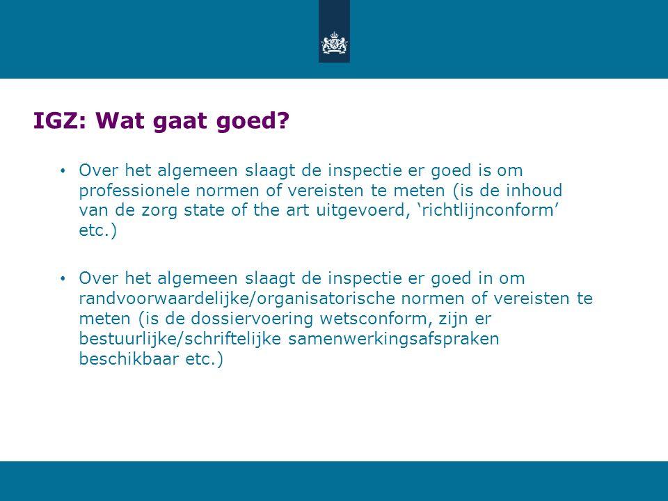 IGZ: Wat gaat goed? Over het algemeen slaagt de inspectie er goed is om professionele normen of vereisten te meten (is de inhoud van de zorg state of