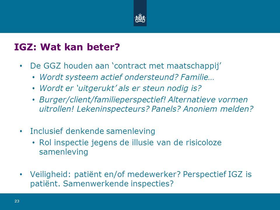 IGZ: Wat kan beter? De GGZ houden aan 'contract met maatschappij' Wordt systeem actief ondersteund? Familie… Wordt er 'uitgerukt' als er steun nodig i