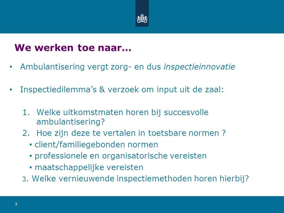 We werken toe naar… Ambulantisering vergt zorg- en dus inspectieinnovatie Inspectiedilemma's & verzoek om input uit de zaal: 1.Welke uitkomstmaten horen bij succesvolle ambulantisering.