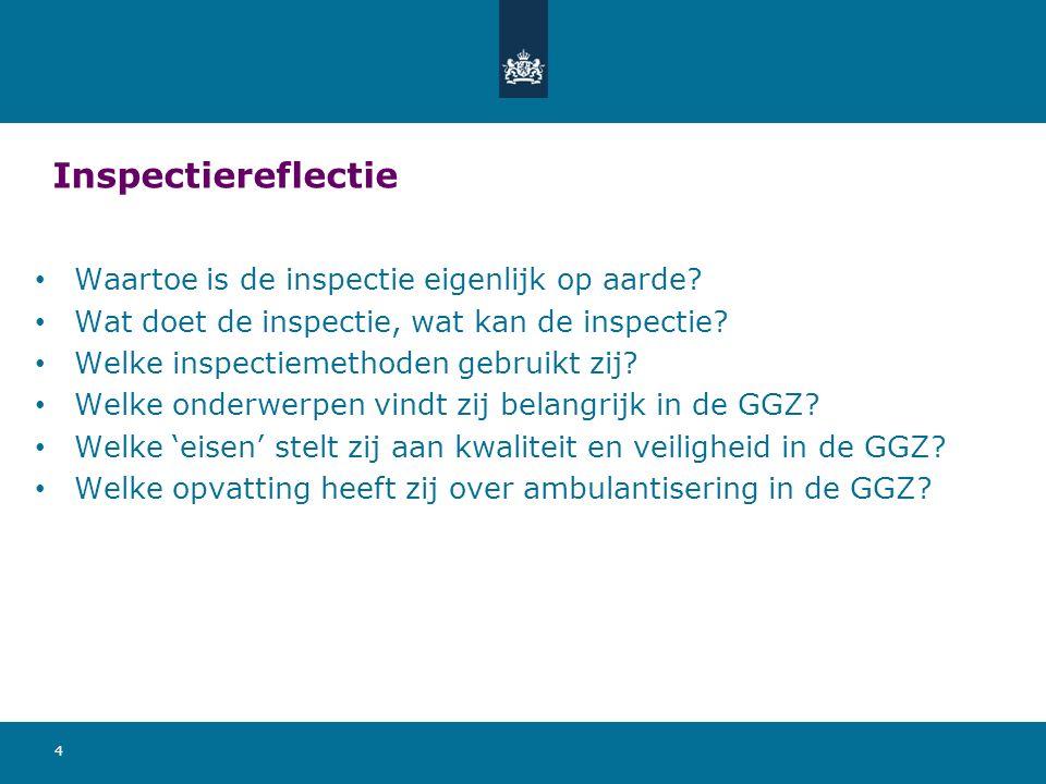 Inspectiereflectie Waartoe is de inspectie eigenlijk op aarde? Wat doet de inspectie, wat kan de inspectie? Welke inspectiemethoden gebruikt zij? Welk