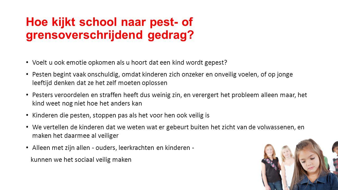 Hoe kijkt school naar pest- of grensoverschrijdend gedrag.