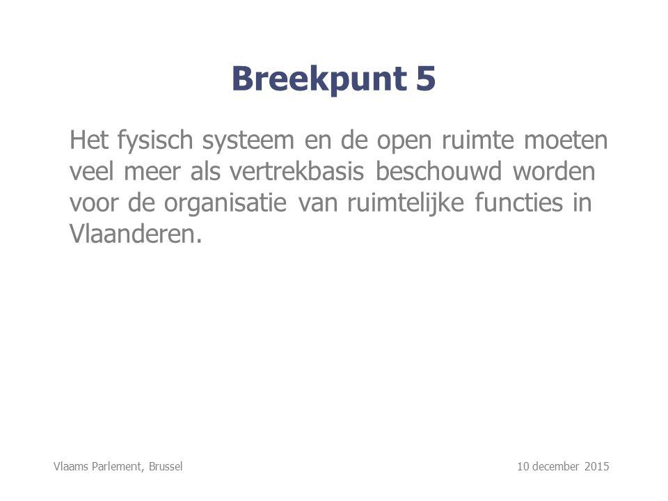 Vlaams Parlement, Brussel 10 december 2015 Breekpunt 5 Het fysisch systeem en de open ruimte moeten veel meer als vertrekbasis beschouwd worden voor de organisatie van ruimtelijke functies in Vlaanderen.