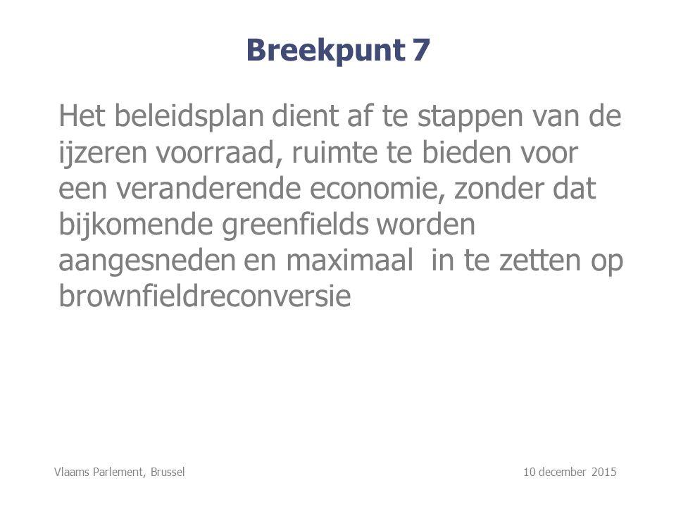Vlaams Parlement, Brussel 10 december 2015 Breekpunt 7 Het beleidsplan dient af te stappen van de ijzeren voorraad, ruimte te bieden voor een veranderende economie, zonder dat bijkomende greenfields worden aangesneden en maximaal in te zetten op brownfieldreconversie
