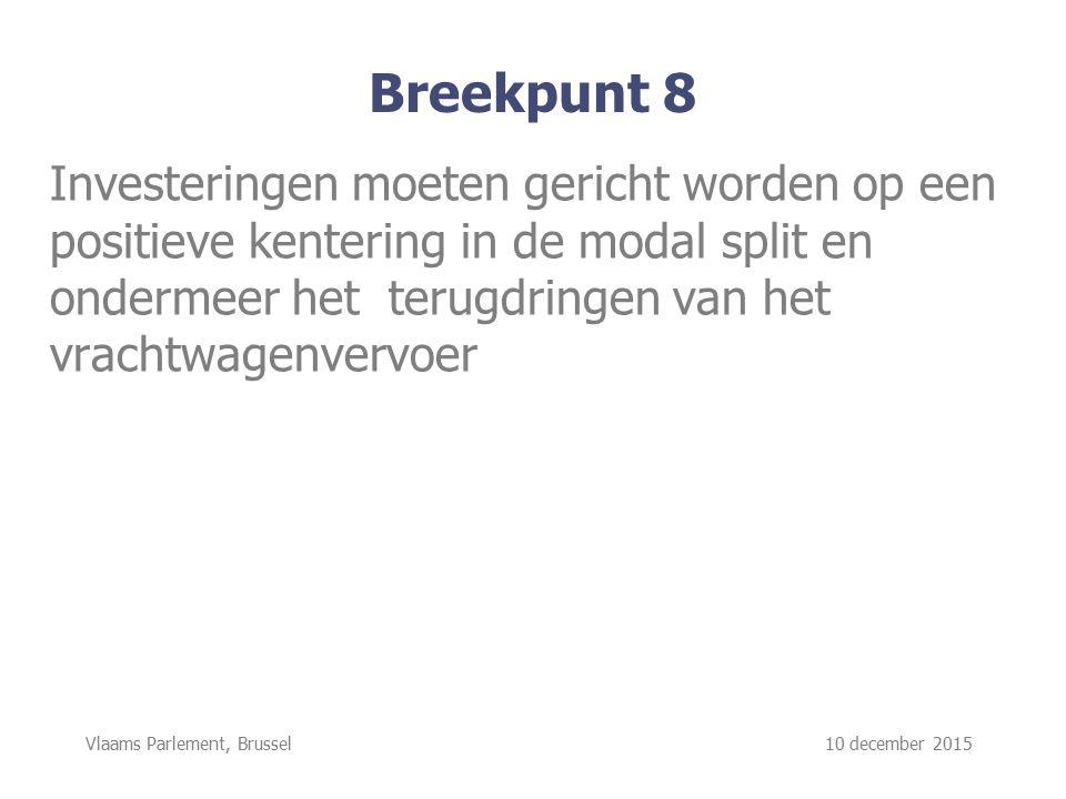 Vlaams Parlement, Brussel 10 december 2015 Breekpunt 8 Investeringen moeten gericht worden op een positieve kentering in de modal split en ondermeer het terugdringen van het vrachtwagenvervoer