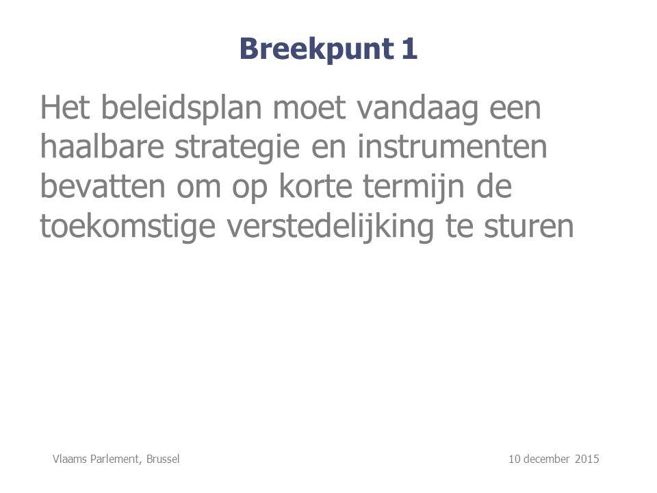 Vlaams Parlement, Brussel 10 december 2015 Breekpunt 1 Het beleidsplan moet vandaag een haalbare strategie en instrumenten bevatten om op korte termijn de toekomstige verstedelijking te sturen