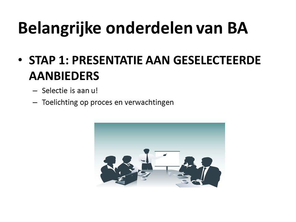 STAP 1: PRESENTATIE AAN GESELECTEERDE AANBIEDERS – Selectie is aan u.
