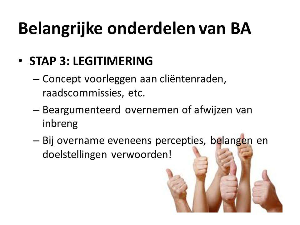 STAP 3: LEGITIMERING – Concept voorleggen aan cliëntenraden, raadscommissies, etc.
