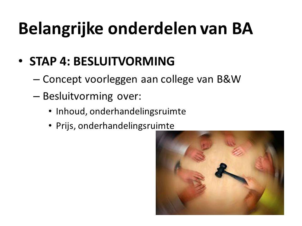 STAP 4: BESLUITVORMING – Concept voorleggen aan college van B&W – Besluitvorming over: Inhoud, onderhandelingsruimte Prijs, onderhandelingsruimte Belangrijke onderdelen van BA