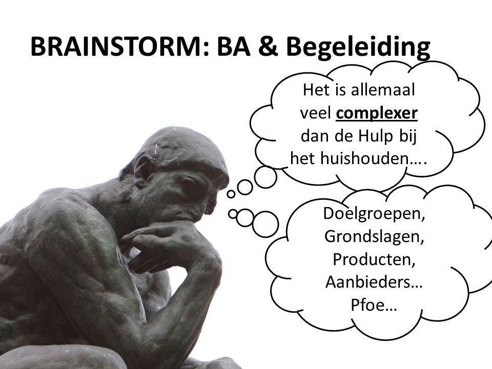 BRAINSTORM: BA & Begeleiding Het is allemaal veel complexer dan de Hulp bij het huishouden….