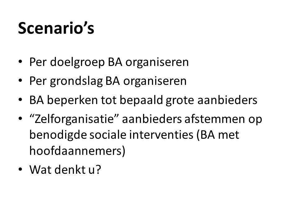 Scenario's Per doelgroep BA organiseren Per grondslag BA organiseren BA beperken tot bepaald grote aanbieders Zelforganisatie aanbieders afstemmen op benodigde sociale interventies (BA met hoofdaannemers) Wat denkt u?