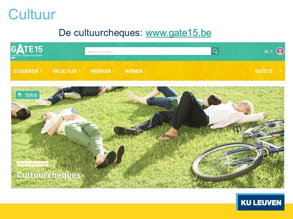 Cultuur De cultuurcheques: www.gate15.bewww.gate15.be