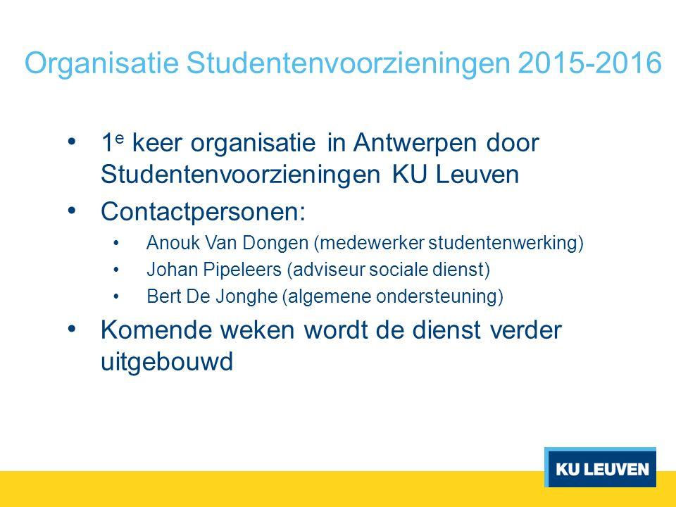 Organisatie Studentenvoorzieningen 2015-2016 1 e keer organisatie in Antwerpen door Studentenvoorzieningen KU Leuven Contactpersonen: Anouk Van Dongen
