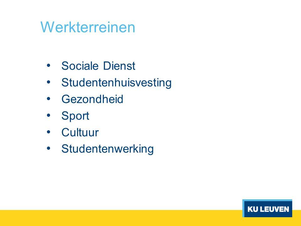 Werkterreinen Sociale Dienst Studentenhuisvesting Gezondheid Sport Cultuur Studentenwerking