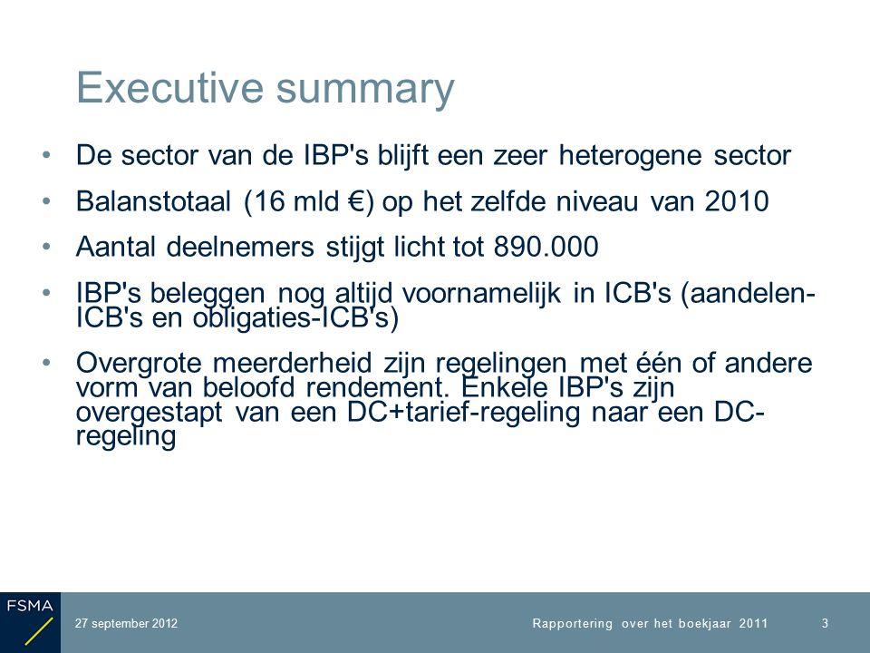 De sector van de IBP s blijft een zeer heterogene sector Balanstotaal (16 mld €) op het zelfde niveau van 2010 Aantal deelnemers stijgt licht tot 890.000 IBP s beleggen nog altijd voornamelijk in ICB s (aandelen- ICB s en obligaties-ICB s) Overgrote meerderheid zijn regelingen met één of andere vorm van beloofd rendement.