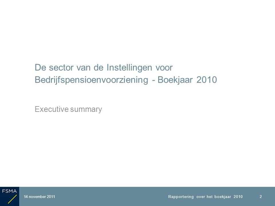 De sector van de Instellingen voor Bedrijfspensioenvoorziening - Boekjaar 2010 Executive summary 2 14 november 2011Rapportering over het boekjaar 2010