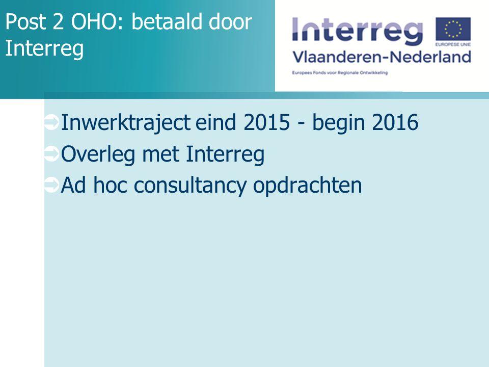 Post 2 OHO: betaald door Interreg  Inwerktraject eind 2015 - begin 2016  Overleg met Interreg  Ad hoc consultancy opdrachten