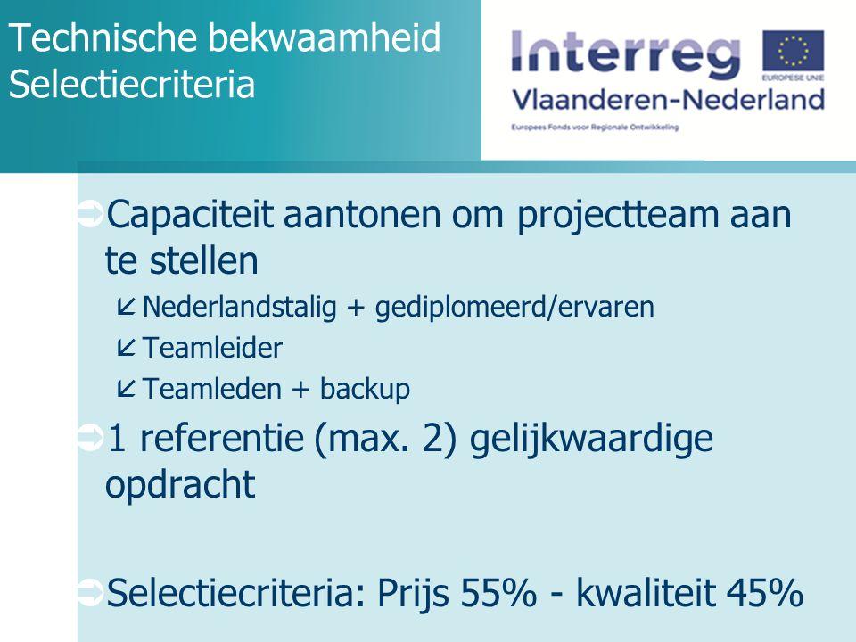 Technische bekwaamheid Selectiecriteria  Capaciteit aantonen om projectteam aan te stellen  Nederlandstalig + gediplomeerd/ervaren  Teamleider  Teamleden + backup  1 referentie (max.