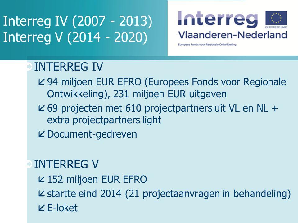 Interreg IV (2007 - 2013) Interreg V (2014 - 2020)  INTERREG IV  94 miljoen EUR EFRO (Europees Fonds voor Regionale Ontwikkeling), 231 miljoen EUR uitgaven  69 projecten met 610 projectpartners uit VL en NL + extra projectpartners light  Document-gedreven  INTERREG V  152 miljoen EUR EFRO  startte eind 2014 (21 projectaanvragen in behandeling)  E-loket