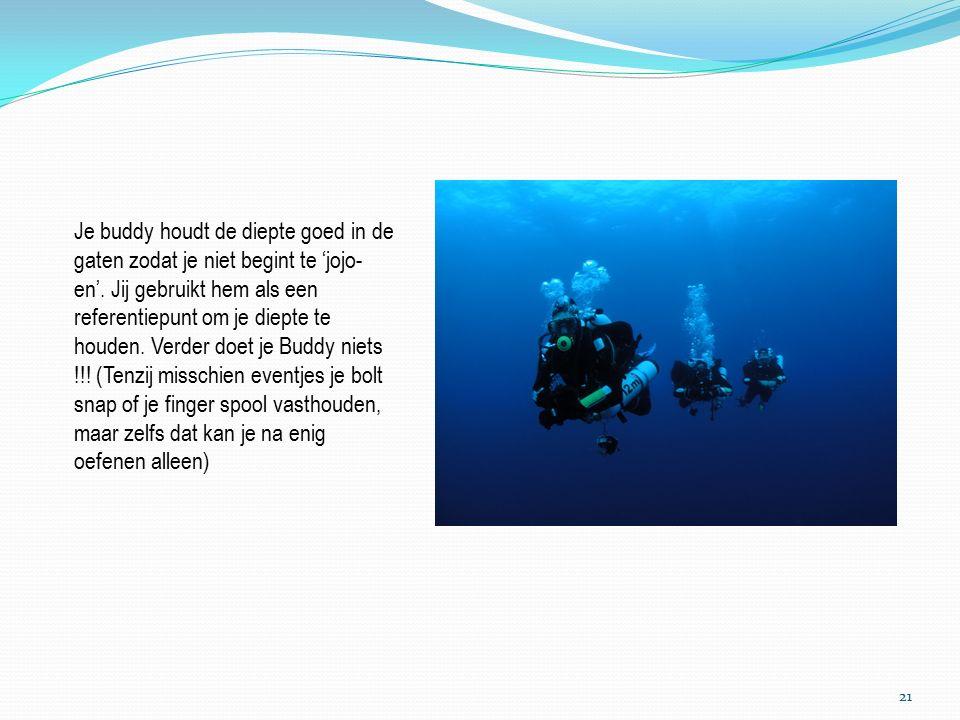 Op de gewenste diepte doe je teken naar je buddy ik ga de boei oplaten (wie hierbij welke functie uitoefent moet je voor de duik in je briefing duidelijk afspreken) een ideale diepte voor gewone duiken ligt hiervoor tussen de 15 en de 12 meter.