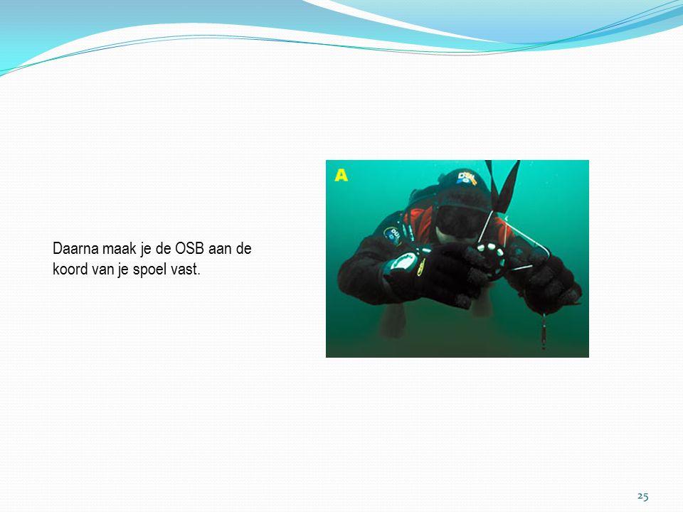Je blaast een heel klein beetje lucht in je OSB zo dat hij recht in het water hangt en niet zakt of voor je ogen hangt.