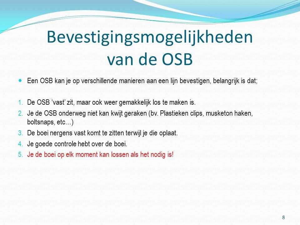 Bevestigingsmogelijkheden van de OSB Een OSB kan je op verschillende manieren aan een lijn bevestigen, belangrijk is dat; 1.