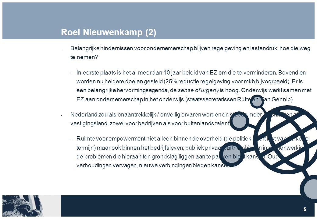 5 Roel Nieuwenkamp (2)  Belangrijke hindernissen voor ondernemerschap blijven regelgeving en lastendruk, hoe die weg te nemen? In eerste plaats is h