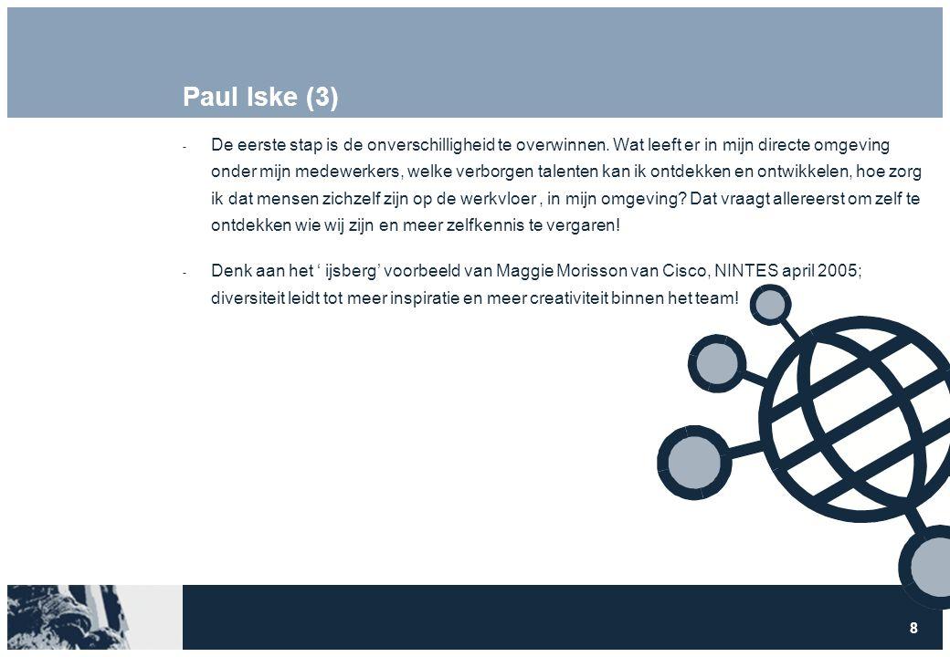 8 Paul Iske (3)  De eerste stap is de onverschilligheid te overwinnen. Wat leeft er in mijn directe omgeving onder mijn medewerkers, welke verborgen
