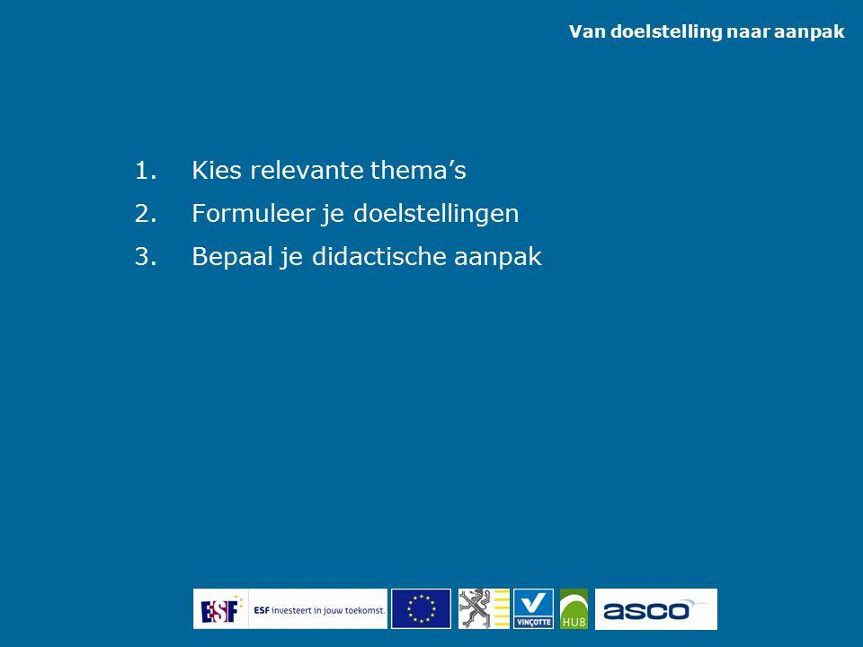 1.Kies relevante thema's 2.Formuleer je doelstellingen 3.Bepaal je didactische aanpak Van doelstelling naar aanpak