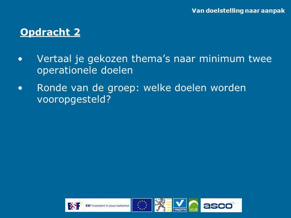 Vertaal je gekozen thema's naar minimum twee operationele doelen Ronde van de groep: welke doelen worden vooropgesteld? Opdracht 2 Van doelstelling na