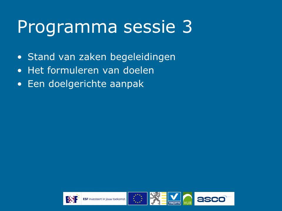 Programma sessie 3 Stand van zaken begeleidingen Het formuleren van doelen Een doelgerichte aanpak