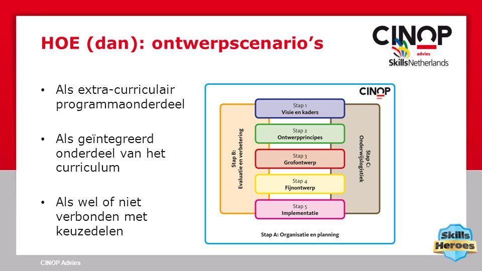 Als extra-curriculair programmaonderdeel Als geïntegreerd onderdeel van het curriculum Als wel of niet verbonden met keuzedelen HOE (dan): ontwerpscenario's CINOP Advies