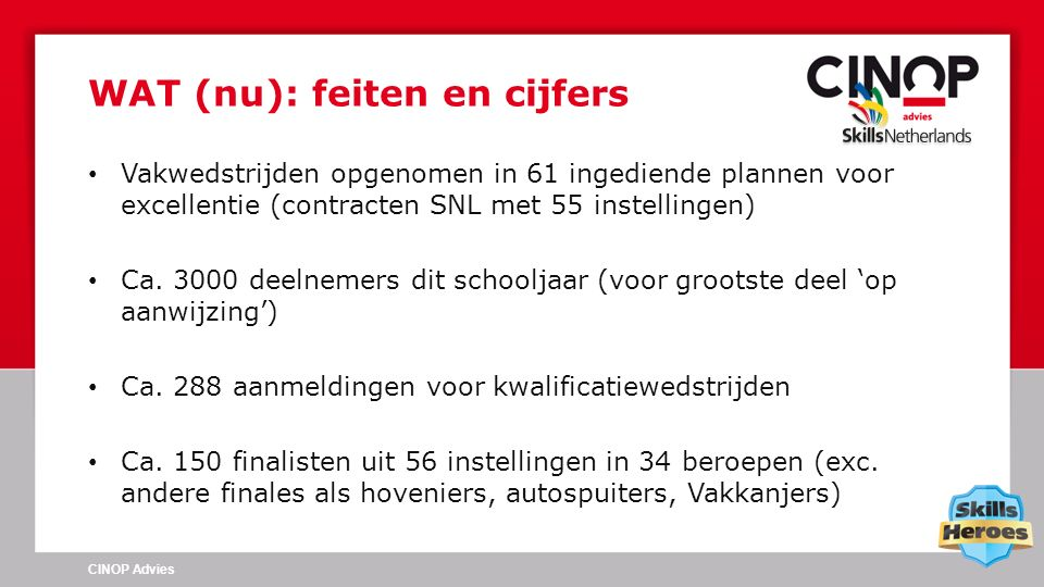 Vakwedstrijden opgenomen in 61 ingediende plannen voor excellentie (contracten SNL met 55 instellingen) Ca. 3000 deelnemers dit schooljaar (voor groot