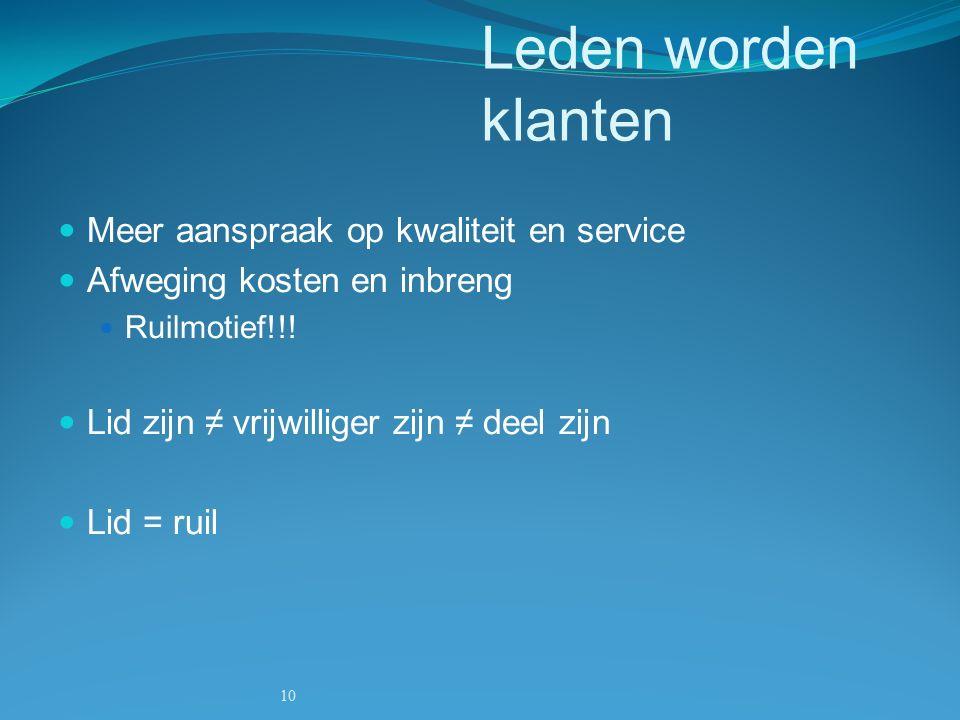 10 Leden worden klanten Meer aanspraak op kwaliteit en service Afweging kosten en inbreng Ruilmotief!!.