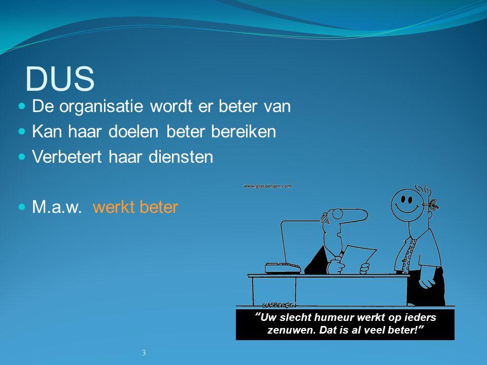 3 DUS De organisatie wordt er beter van Kan haar doelen beter bereiken Verbetert haar diensten M.a.w.