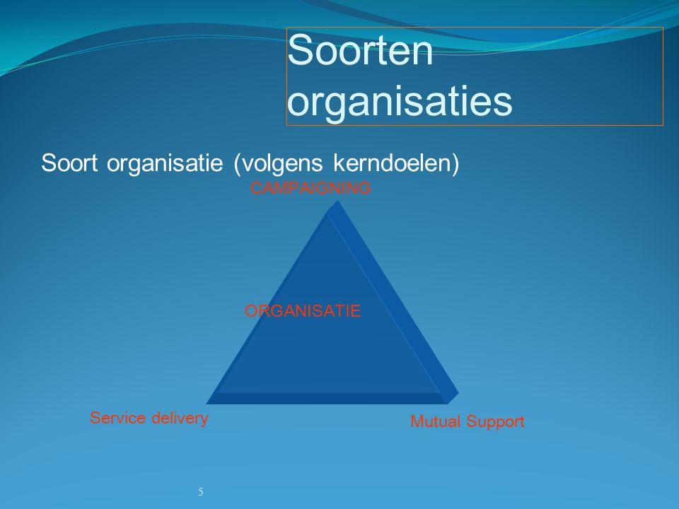 5 Soorten organisaties CAMPAIGNING Service delivery Mutual Support ORGANISATIE Soort organisatie (volgens kerndoelen)
