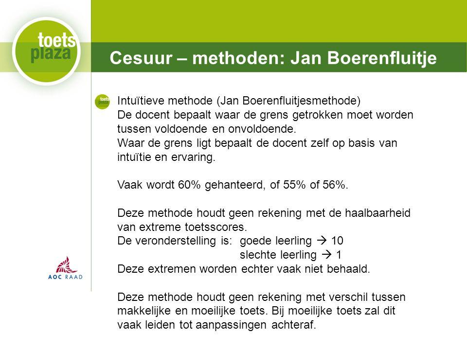 Expertiseteam Toetsenbank Cesuur – methoden: Jan Boerenfluitje Intuïtieve methode (Jan Boerenfluitjesmethode) De docent bepaalt waar de grens getrokken moet worden tussen voldoende en onvoldoende.